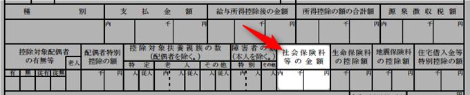 源泉徴収票の社会保険料