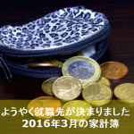 2016年3月のんちゃん家の家計簿まとめ